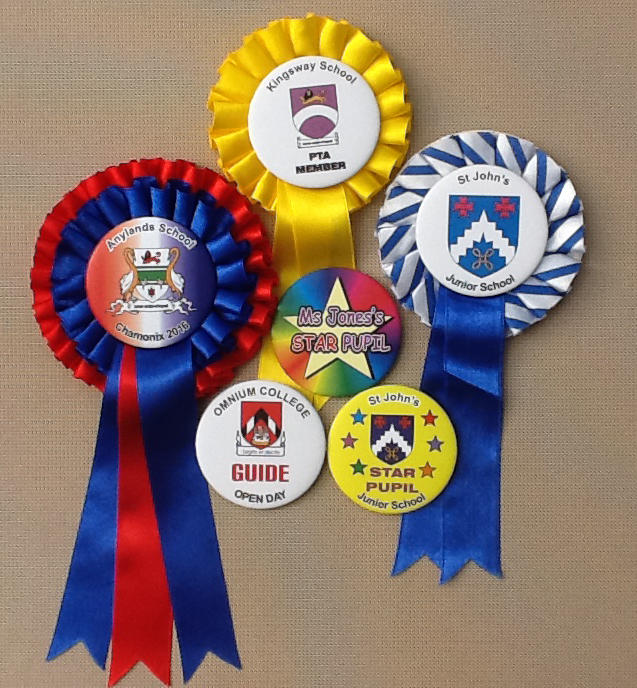 school rosettes and badges